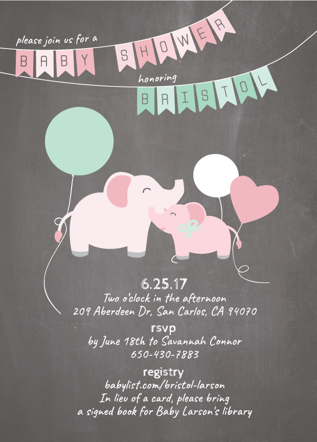 Elephant baby shower invitation inside