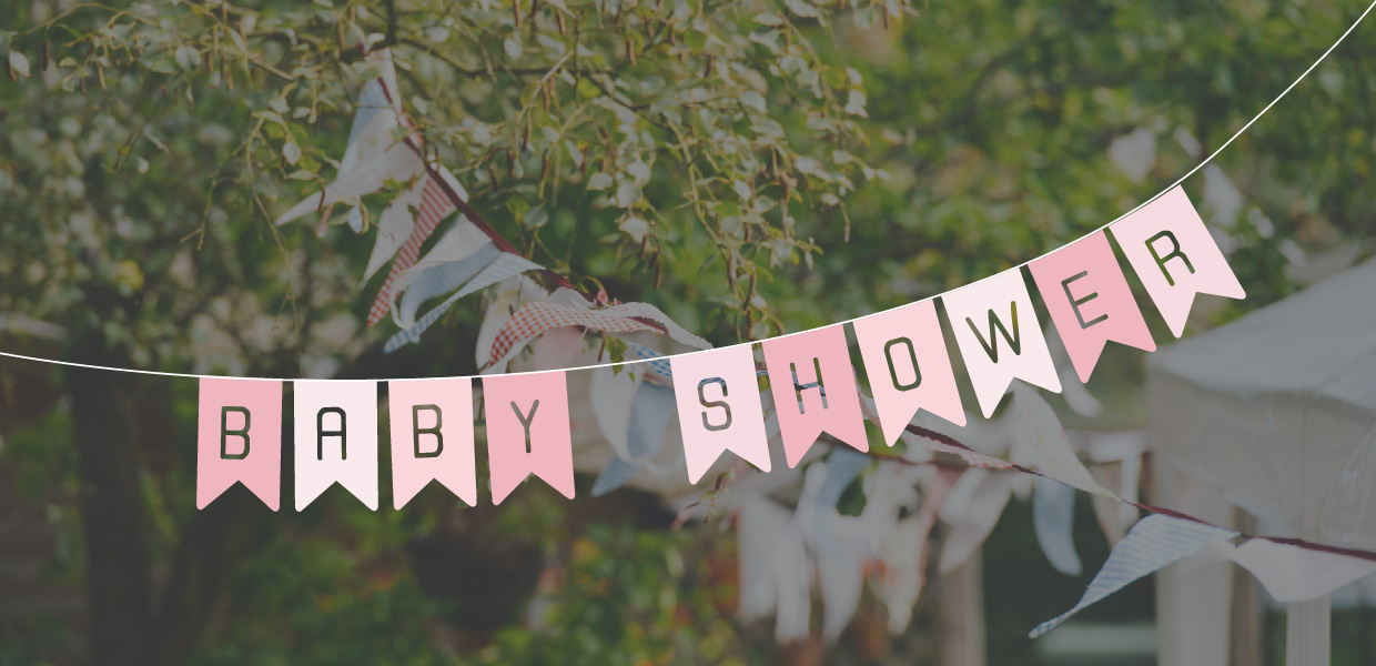 baby shower banner over party image
