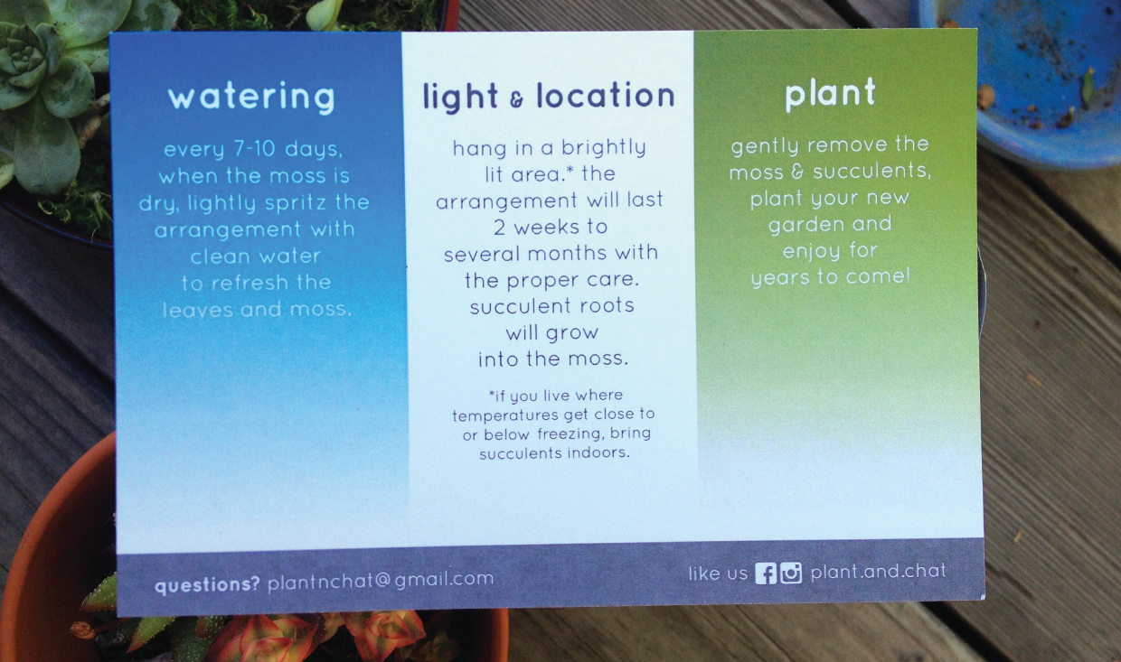 Plant and chat care card back