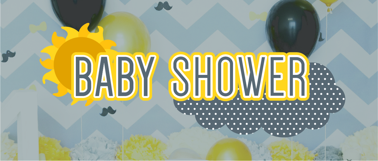 baby shower banner over balloons