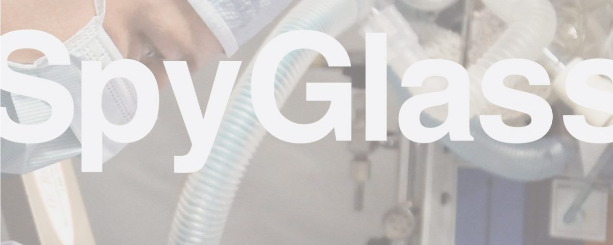 Spy Glass logo over surgical photo