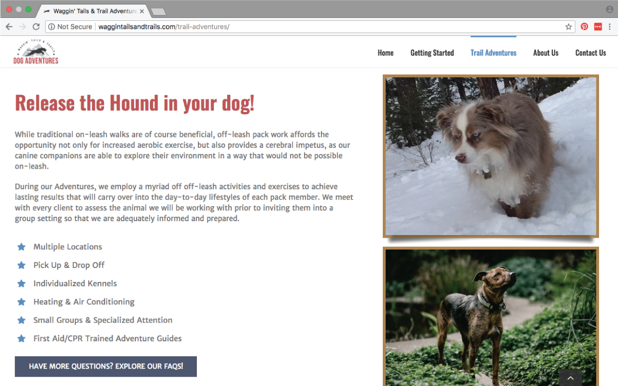 website example of waggin tails and trails