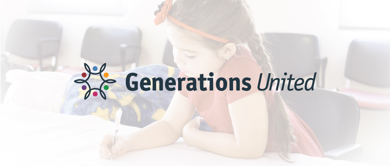Generations United logo over girl coloring