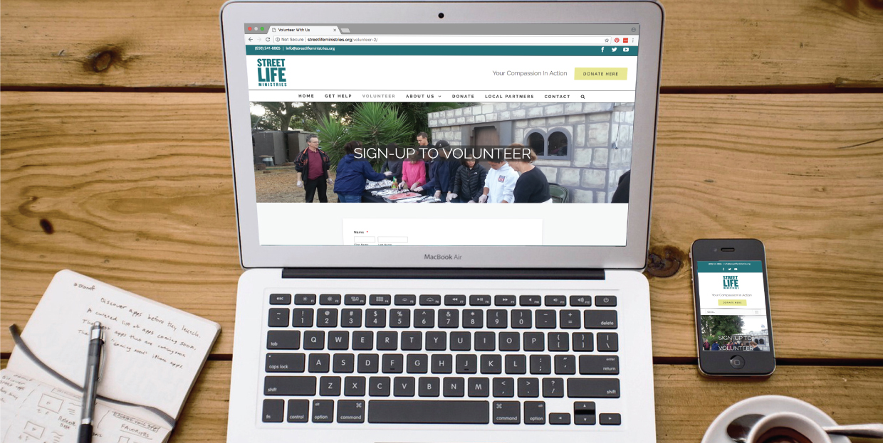 Street Life Ministries website mock up on laptop