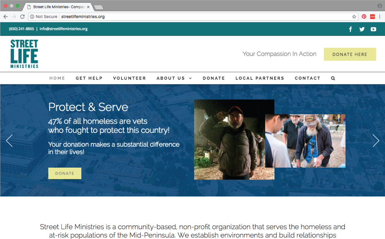Street Life Ministries website homepage