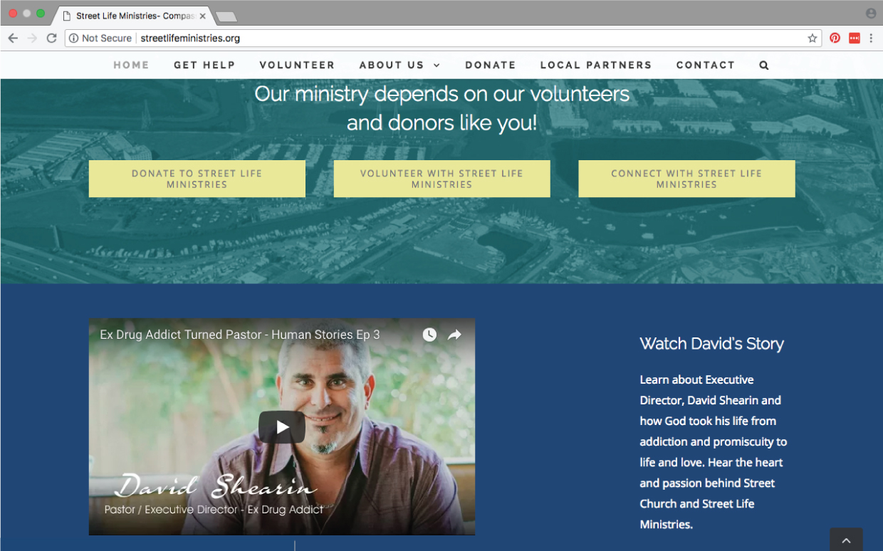 Street Life Ministries homepage website