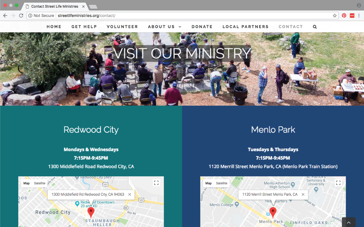 Street Life Ministries website page