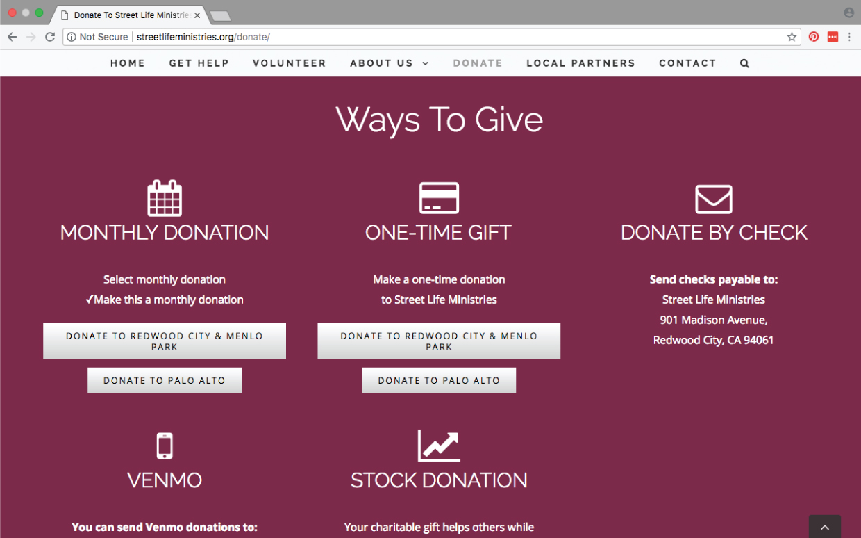 Street Life Ministries donation website page